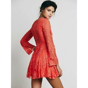 Free People Reign Over Me Orange Lace Mini Skater